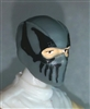 "Male Head: Balaclava GRAY Mask with Black ""FANG"" Deco - 1:18 Scale MTF Accessory for 3-3/4"" Action Figures"