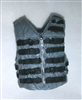"Male Vest: Tactical Type GRAY with BLACK Version - 1:18 Scale Modular MTF Accessory for 3-3/4"" Action Figures"