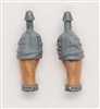"Male Forearms: Bare with GRAY Rolled Up Sleeves Light Skin Tone - Right AND Left (Pair) - 1:18 Scale MTF Accessory for 3-3/4"" Action Figures"