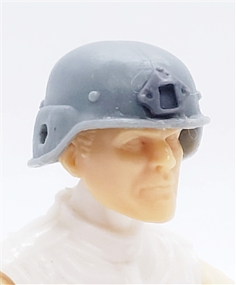 "Headgear: LWH Combat Helmet LIGHT GRAY Version - 1:18 Scale Modular MTF Accessory for 3-3/4"" Action Figures"