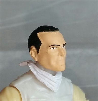"Male Head: ""Trooper"" Light Skin Tone with Black Hair - 1:18 Scale MTF Accessory for 3-3/4"" Action Figures"