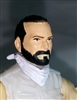 "Male Head: ""Trooper"" Light Skin Tone with BLACK BEARD - 1:18 Scale MTF Accessory for 3-3/4"" Action Figures"
