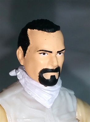 "Male Head: ""Trooper"" Light Skin Tone with BLACK GOATEE - 1:18 Scale MTF Accessory for 3-3/4"" Action Figures"