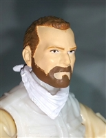 "Male Head: ""Trooper"" Light Skin Tone with BROWN BEARD - 1:18 Scale MTF Accessory for 3-3/4"" Action Figures"