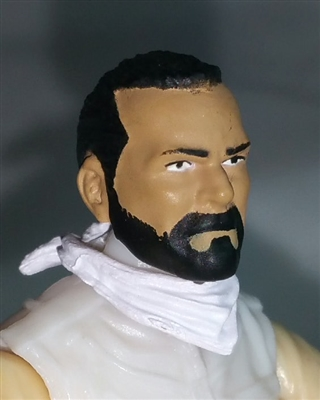 "Male Head: ""Trooper"" Light Tan Skin Tone with BLACK BEARD  - 1:18 Scale MTF Accessory for 3-3/4"" Action Figures"