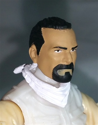 "Male Head: ""Trooper"" Light Tan Skin Tone with BLACK GOATEE  - 1:18 Scale MTF Accessory for 3-3/4"" Action Figures"