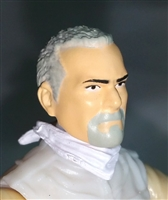 "Male Head: ""Trooper"" Light Skin Tone with GRAY GOATEE - 1:18 Scale MTF Accessory for 3-3/4"" Action Figures"