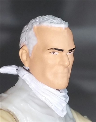 "Male Head: ""Trooper"" Light Skin Tone with White Hair - 1:18 Scale MTF Accessory for 3-3/4"" Action Figures"