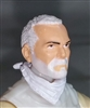 "Male Head: ""Trooper"" Light Skin Tone with WHITE BEARD - 1:18 Scale MTF Accessory for 3-3/4"" Action Figures"