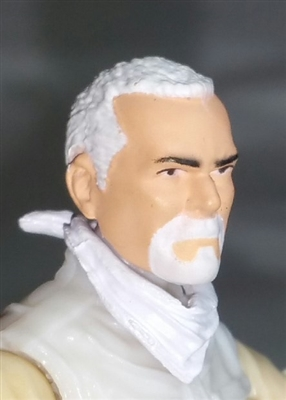 "Male Head: ""Trooper"" Light Skin Tone with WHITE GOATEE - 1:18 Scale MTF Accessory for 3-3/4"" Action Figures"