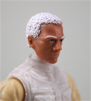 "Male Head: ""Vanguard"" Light Skin Tone with White Hair - 1:18 Scale MTF Accessory for 3-3/4"" Action Figures"