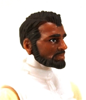 "Male Head: ""Ranger"" Tan Skin Tone with BROWN BEARD - 1:18 Scale MTF Accessory for 3-3/4"" Action Figures"