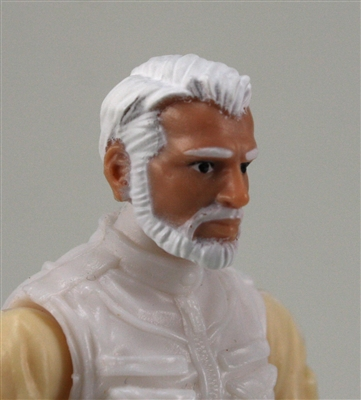 "Male Head: ""Ranger"" Light Skin Tone with WHITE BEARD - 1:18 Scale MTF Accessory for 3-3/4"" Action Figures"
