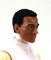 "Male Head: ""Vanguard"" Tan Skin Tone with BLACK Hair - 1:18 Scale MTF Accessory for 3-3/4"" Action Figures"