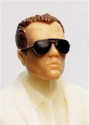 "Male Head: ""Miles"" Light Skin Tone with Aviator Sunglasses & Brown Hair - 1:18 Scale MTF Accessory for 3-3/4"" Action Figures"