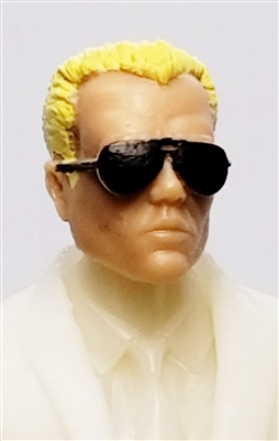 "Male Head: ""Miles"" Light Skin Tone with Aviator Sunglasses & Blonde Hair - 1:18 Scale MTF Accessory for 3-3/4"" Action Figures"