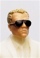 "Male Head: ""Miles"" Light Skin Tone with Aviator Sunglasses & Light Brown Hair - 1:18 Scale MTF Accessory for 3-3/4"" Action Figures"