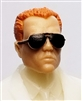 "Male Head: ""Miles"" Light Skin Tone with Aviator Sunglasses & Red Hair - 1:18 Scale MTF Accessory for 3-3/4"" Action Figures"