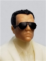 "Male Head: ""Miles"" Light Skin Tone with Aviator Sunglasses & Black Hair - 1:18 Scale MTF Accessory for 3-3/4"" Action Figures"