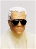 "Male Head: ""Miles"" Light Skin Tone with Aviator Sunglasses & White Hair - 1:18 Scale MTF Accessory for 3-3/4"" Action Figures"