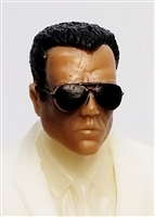 "Male Head: ""Miles"" Tan Skin Tone with Aviator Sunglasses & Black Hair - 1:18 Scale MTF Accessory for 3-3/4"" Action Figures"