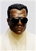 "Male Head: ""Miles"" Dark Skin Tone with Aviator Sunglasses & Black Hair - 1:18 Scale MTF Accessory for 3-3/4"" Action Figures"