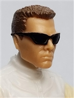 "Male Head: ""DUTCH"" Light Skin Tone with Sport Sunglasses & Brown Hair - 1:18 Scale MTF Accessory for 3-3/4"" Action Figures"