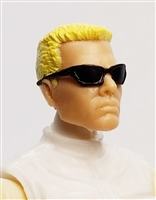 "Male Head: ""DUTCH"" Light Skin Tone with Sport Sunglasses & Blonde Hair - 1:18 Scale MTF Accessory for 3-3/4"" Action Figures"