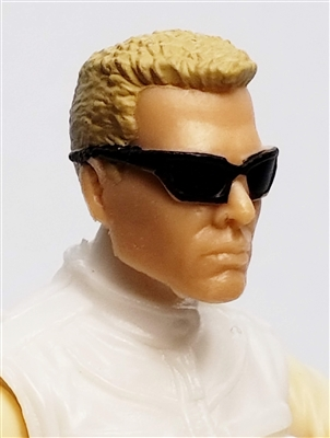 "Male Head:  ""DUTCH"" Light Skin Tone with Sport Sunglasses & Light Brown Hair - 1:18 Scale MTF Accessory for 3-3/4"" Action Figures"