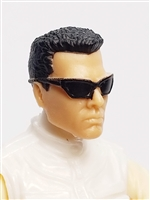 "Male Head:  ""DUTCH"" Light Skin Tone with Sport Sunglasses & Black Hair - 1:18 Scale MTF Accessory for 3-3/4"" Action Figures"