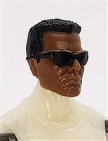 "Male Head:  ""DUTCH"" Dark Skin Tone with Sport Sunglasses & Black Hair - 1:18 Scale MTF Accessory for 3-3/4"" Action Figures"