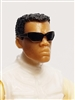 "Male Head: ""Paul"" Tan Skin Tone with Sport Sunglasses & Black Hair - 1:18 Scale MTF Accessory for 3-3/4"" Action Figures"