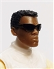 "Male Head: ""Paul"" Dark Skin Tone with Sport Sunglasses & Black Hair - 1:18 Scale MTF Accessory for 3-3/4"" Action Figures"