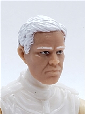 "Male Head: ""LOGAN"" Light Skin Tone with WHITE Hair - 1:18 Scale MTF Accessory for 3-3/4"" Action Figures"