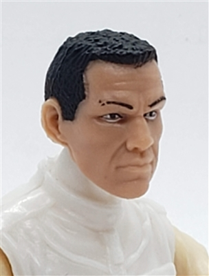 "Male Head: ""HANK"" Light Skin Tone with BLACK Hair - 1:18 Scale MTF Accessory for 3-3/4"" Action Figures"