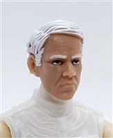"Male Head: ""NIGEL"" Light Skin Tone with WHITE Hair - 1:18 Scale MTF Accessory for 3-3/4"" Action Figures"