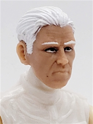 "Male Head: ""IVAN"" Light Skin Tone with WHITE Hair - 1:18 Scale MTF Accessory for 3-3/4"" Action Figures"