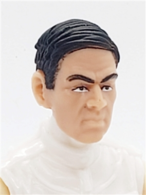 "Male Head: ""FRITZ"" Light Skin Tone with BLACK Hair - 1:18 Scale MTF Accessory for 3-3/4"" Action Figures"