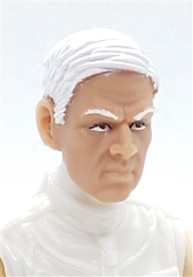 "Male Head: ""FRITZ"" Light Skin Tone with WHITE Hair - 1:18 Scale MTF Accessory for 3-3/4"" Action Figures"