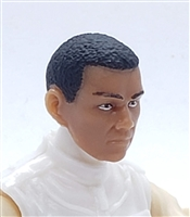 "Male Head: ""HIRO"" TAN Skin Tone with Black Hair - 1:18 Scale MTF Accessory for 3-3/4"" Action Figures"
