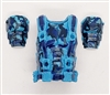 "Male Vest: Armor Type BLUE CAMO Version - 1:18 Scale Modular MTF Accessory for 3-3/4"" Action Figures"