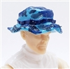 "Headgear: Boonie Hat BLUE CAMO Version - 1:18 Scale Modular MTF Accessory for 3-3/4"" Action Figures"