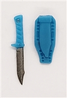 "Fighting Knife & Sheath: Large Size LIGHT BLUE  Version - 1:18 Scale Modular MTF Accessory for 3-3/4"" Action Figures"