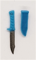 "Fighting Knife & Sheath: Small Size LIGHT BLUE Version - 1:18 Scale Modular MTF Accessory for 3-3/4"" Action Figures"