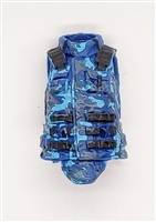 "Female Vest: High Collar Type BLUE CAMO Version - 1:18 Scale Modular MTF Valkyries Accessory for 3-3/4"" Action Figures"