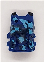 "Female Vest: Armor Type BLUE CAMO Version - 1:18 Scale Modular MTF Valkyries Accessory for 3-3/4"" Action Figures"