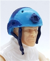 "Headgear: Half-Shell Helmet LIGHT BLUE with BLUE Version - 1:18 Scale Modular MTF Accessory for 3-3/4"" Action Figures"