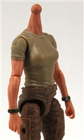 MTF Female Valkyries T-Shirt Torso ONLY (NO WAIST/LEGS): TAN & GREEN Version with LIGHT Skin Tone - 1:18 Scale Marauder Task Force Accessory