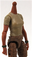 MTF Female Valkyries T-Shirt Torso ONLY (NO WAIST/LEGS): TAN & GREEN Version with TAN Skin Tone - 1:18 Scale Marauder Task Force Accessory