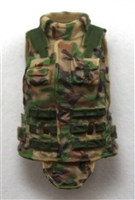 "Female Vest: High Collar Type Tan/Green/Brown Camo Version - 1:18 Scale Modular MTF Valkyries Accessory for 3-3/4"" Action Figures"